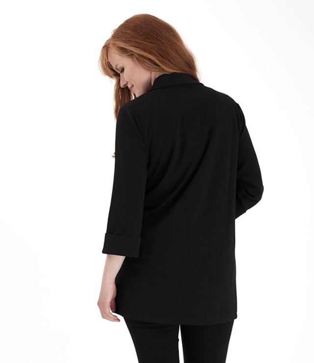 CARDIGAN MI-LONG LOOK VESTON OUVERT noir