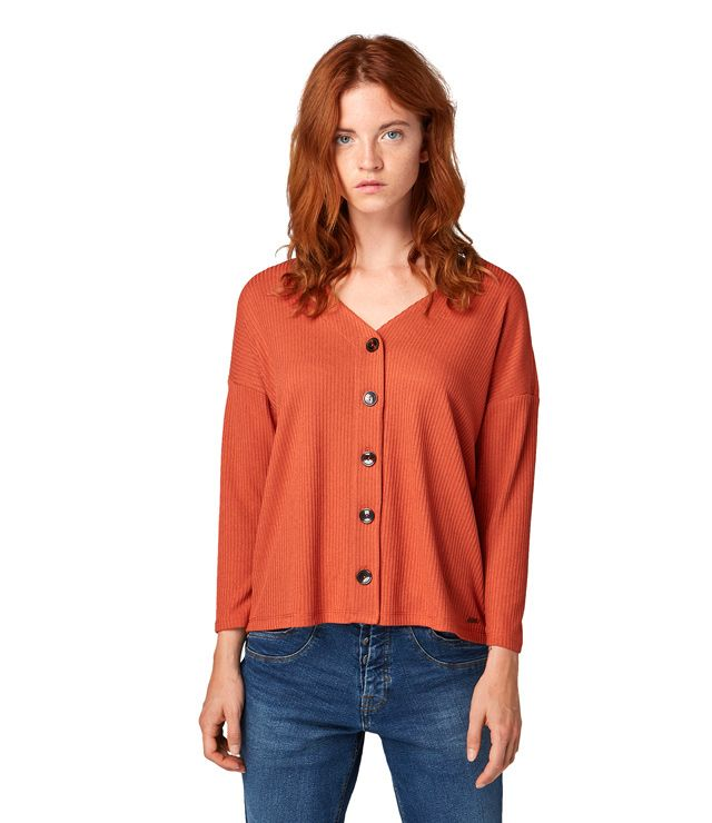 CARDIGAN BOUTONS V NECK ORANGE BRULÉ
