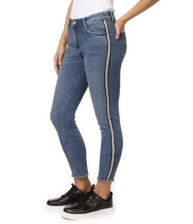 JEANS ANKLE TAILLE MOYENNE SKINNY BANDE denin
