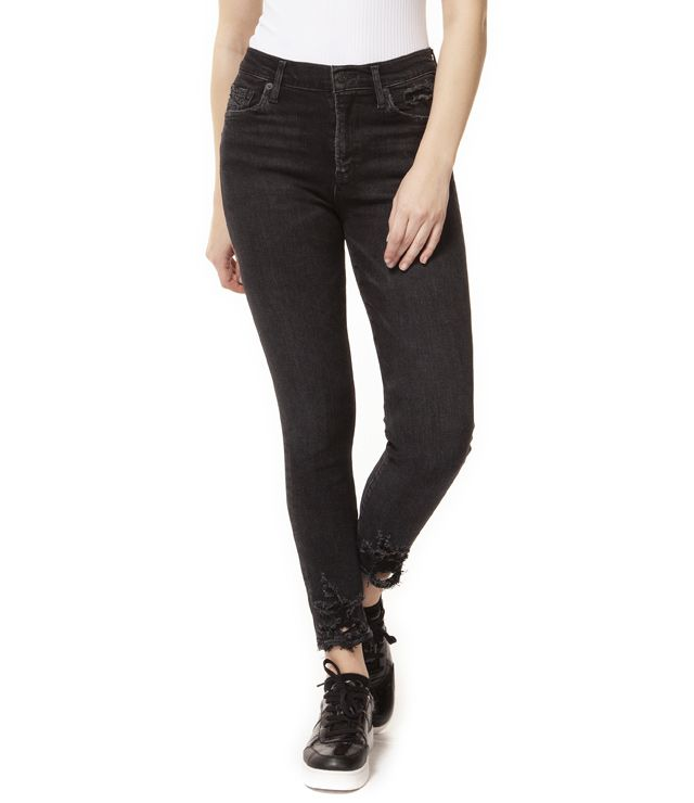 JEANS ANKLE TAILLE MOYENNE SKINNY noir