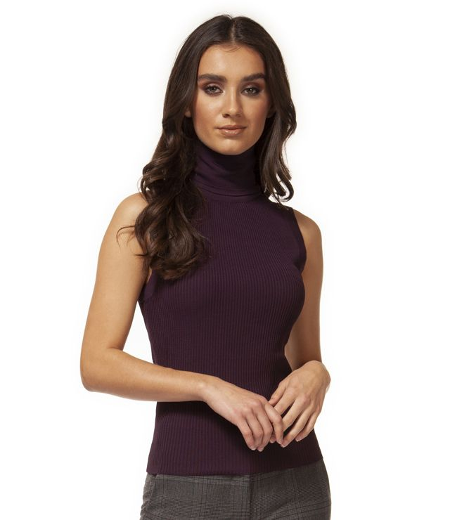 CHANDAIL SANS MANCHES TURTLE NECK UNI raisin