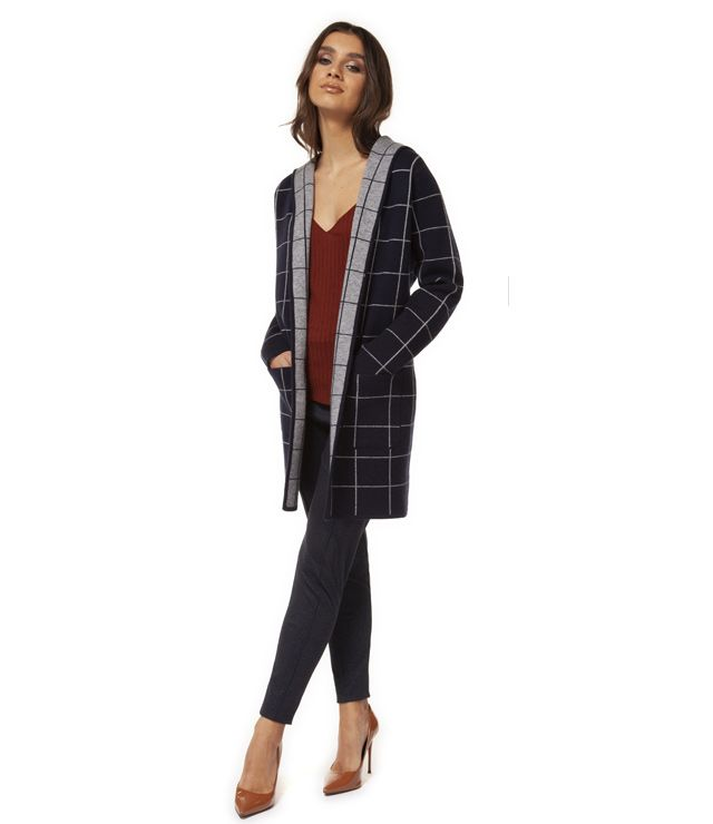 CARDIGAN CAPUCHON CARREAUX LONG marine