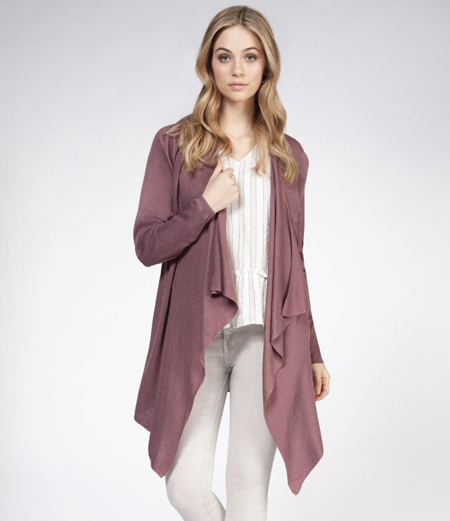 CARDIGAN MI-LONG UNI COUPE DOS FRILL ROSE FUME