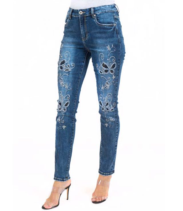 JEANS DAME BRODE PAPILLONS TAILLE HAUTE denin