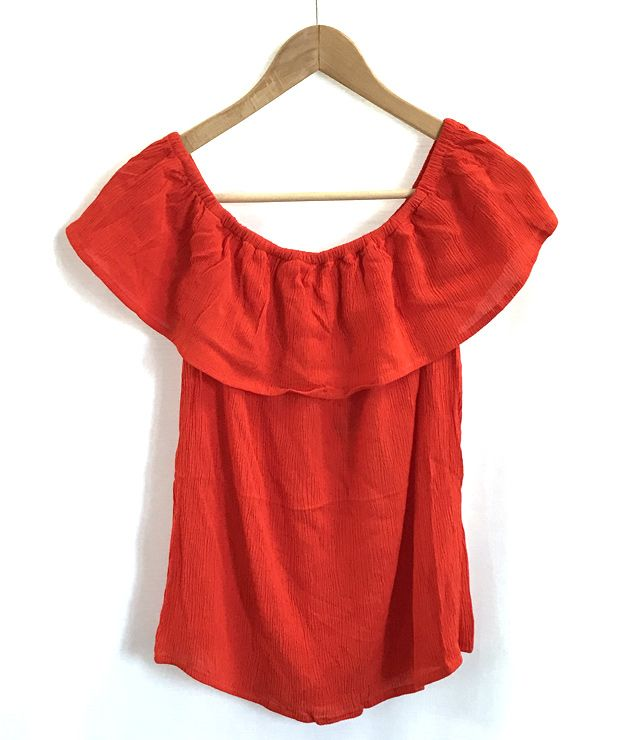 BLOUSE OFF SHOULDER UNIE orange