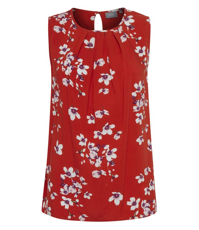 BLOUSE CAMI MOTIF FLORAL 100% VISC.LEGER orange
