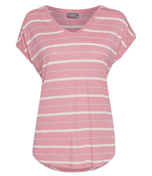 T-SHIRT V-NECK LIGNÉ ROSE SORBET