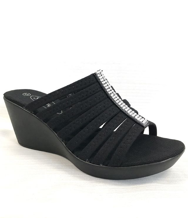 SANDALE CHIC MULTI STRIPES TALON COMPENS noir