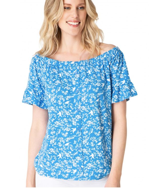 T-SHIRT OFF SHOULDER MOTIF bleu français