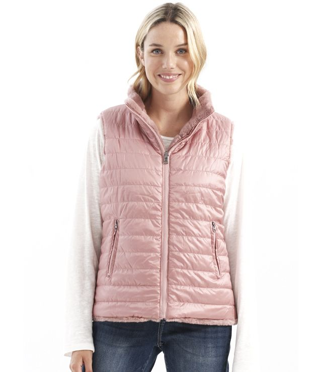 VESTE REVERSIBLE ZIP SIMILI FOURRURE NYL rose