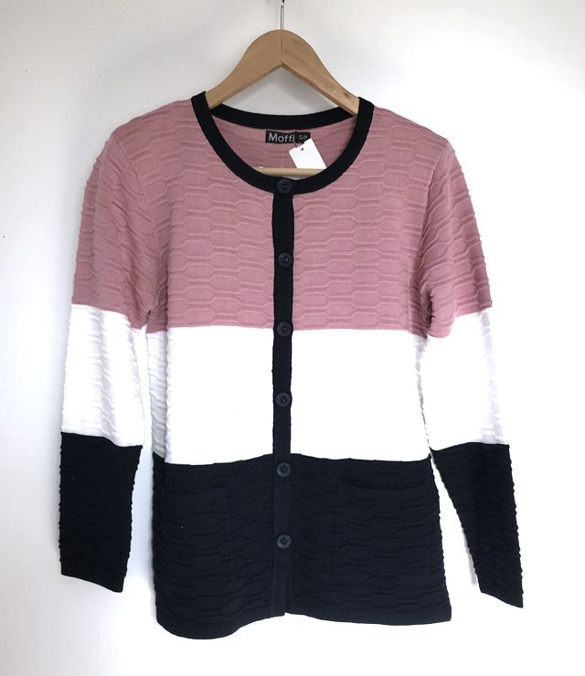 CARDIGAN TRICOT 2 POCHES 3 COULEURS rose