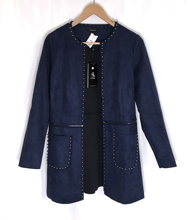 CARDIGAN SIMILI SUEDE STUDS LONG - COURT bleu