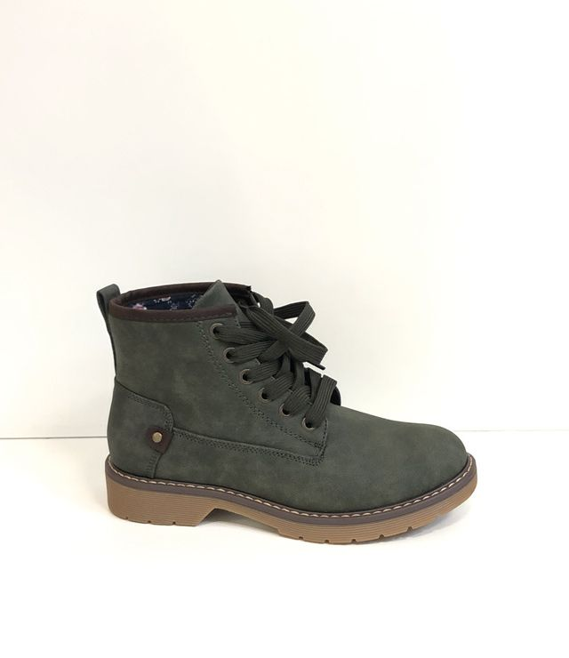 BOTTINE UNIE LACÉE SIMILI CUIR KHAKI