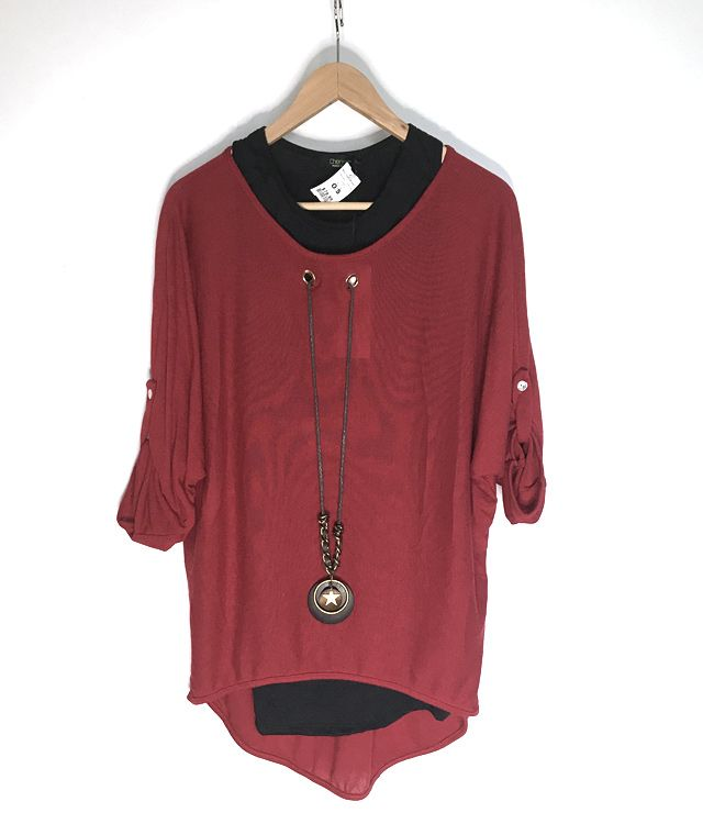 CHANDAIL TUNIQUE 2 EN1 CAMI/COLLIER UNI rouge