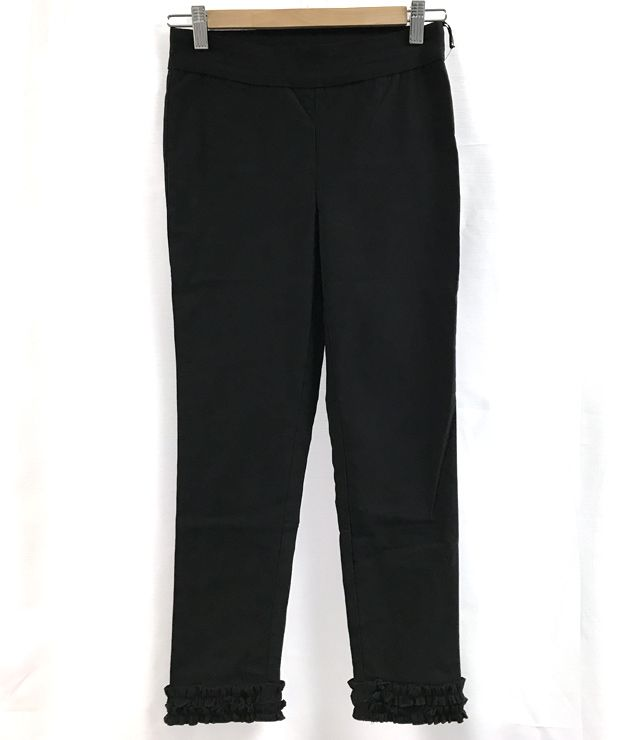 PANTALON 7/8 UNI PULL ON FRILL BAS noir