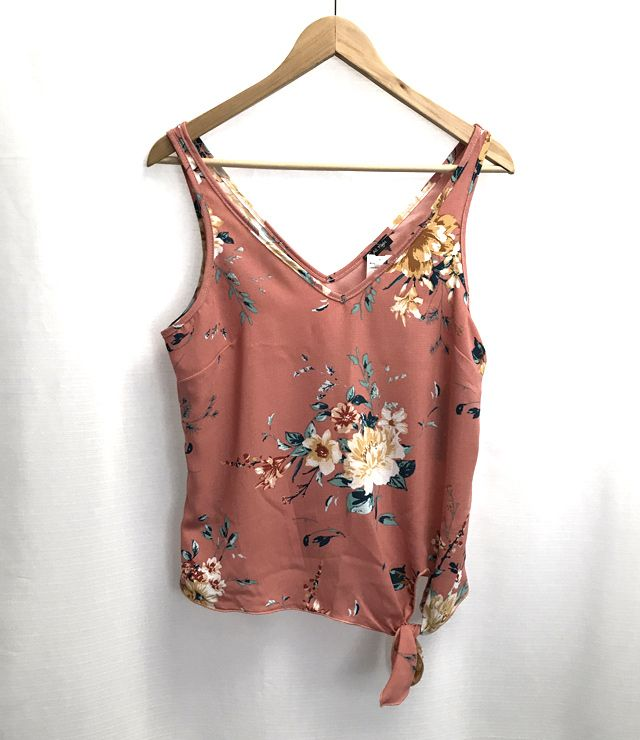 CAMISOLE FLEURIE ATTACHE BAS COTE BLUSH
