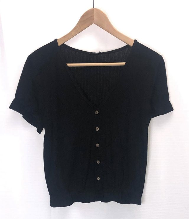BLOUSE M/C V NECK POINTELLE UNIE noir