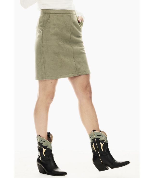 JUPE COURTE SIMILI-SUEDE 2 POCHES VERT FORET