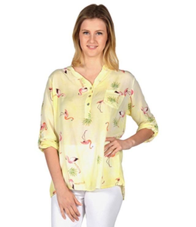 BLOUSE M.L. MOTIFS SPORT REVERS FLAMANTS jaune