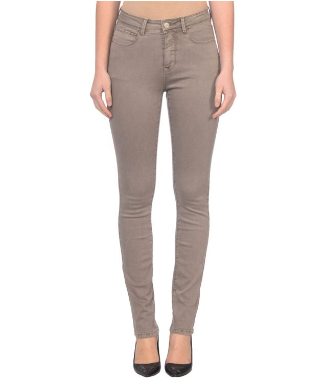 JEANS COULEUR JAMBE DROITE TAILLE HAUTE TAUPE