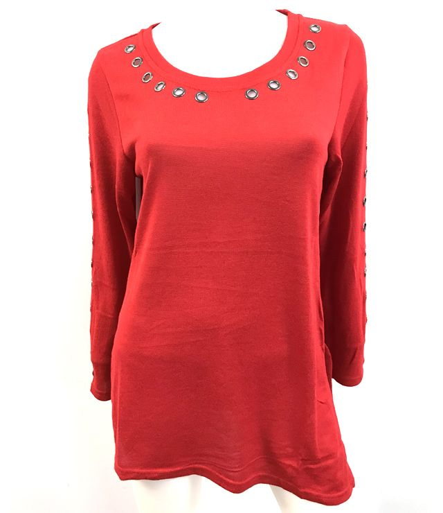 CHANDAIL TUNIQUE UNI RIVETS COL&MCH ASYM rouge