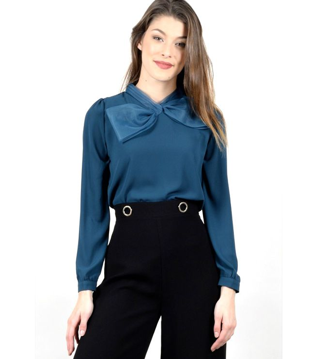 BLOUSE VOILE UNIE CHIC BOUCLE COL TURQUOISE